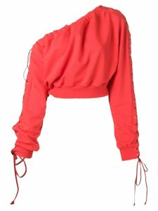 Unravel Project one-shoulder lace-up sweatshirt - Red
