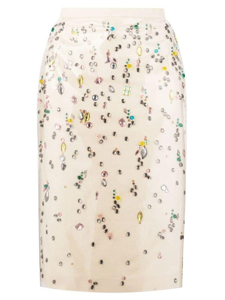 Nº21 embellished pencil skirt - Neutrals