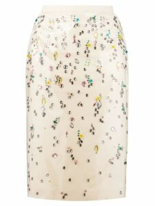 Nº21 embellished pencil skirt - Neutrals