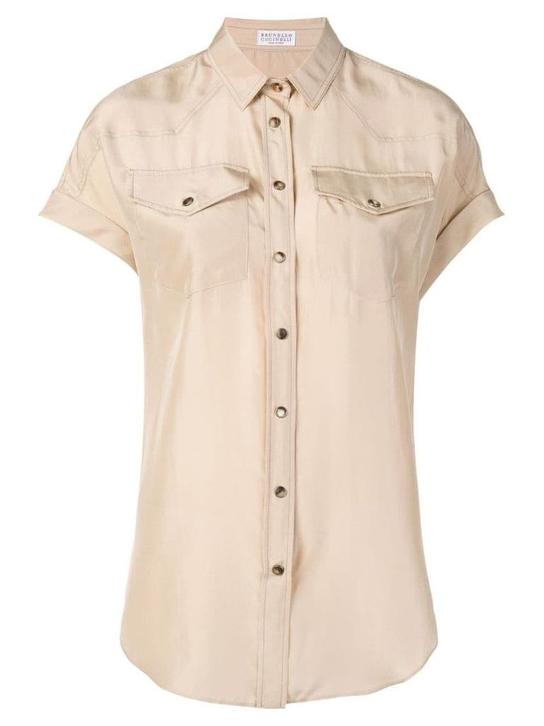 Brunello Cucinelli short-sleeved shirt - Neutrals