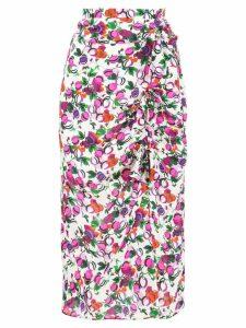 Saloni floral draped midi skirt - Multicolour