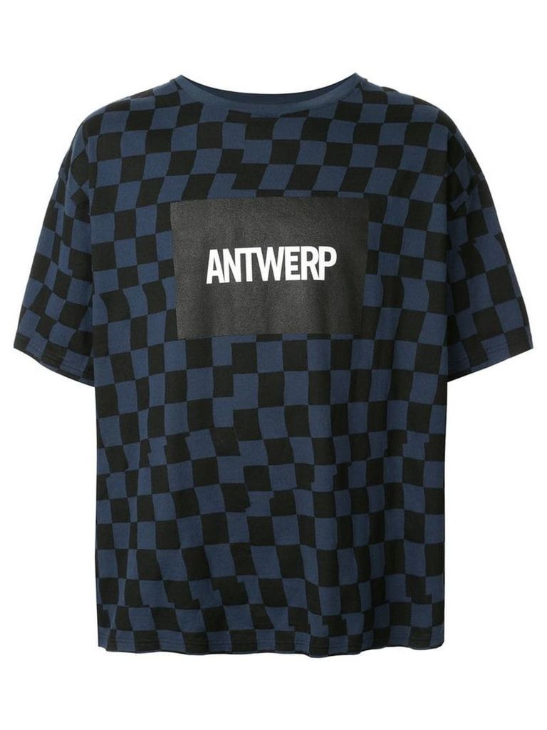 Facetasm checkered logo print T-shirt - Blue