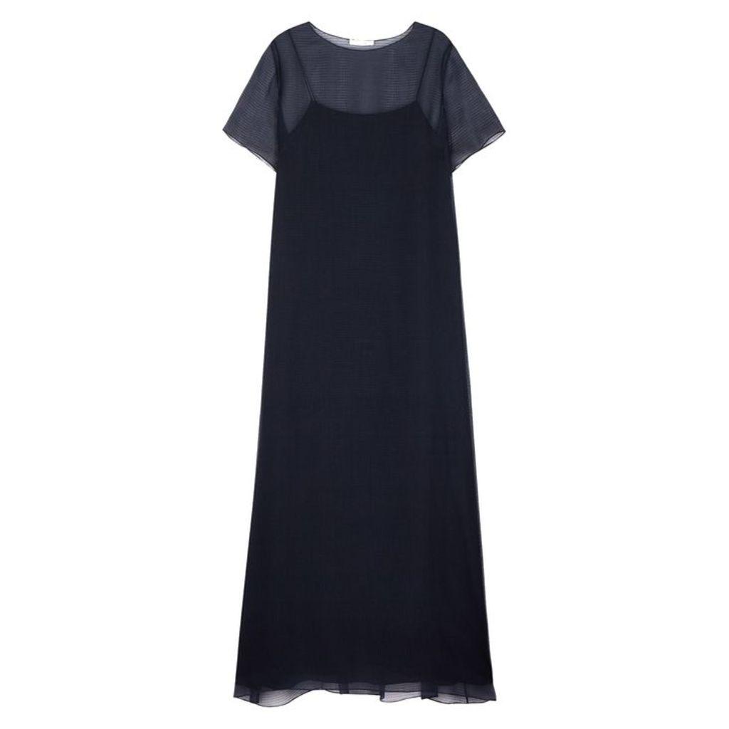 THE ROW Lorie Navy Silk Organza Maxi Dress
