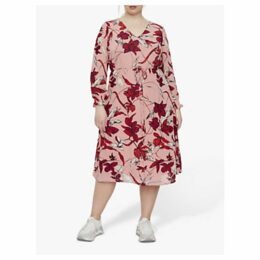 JUNAROSE Curve Allia Floral Print Midi Dress, Blush