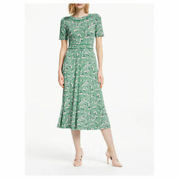 Boden Ava Floral Spot Midi Dress, Forest Green/Chalky Pink