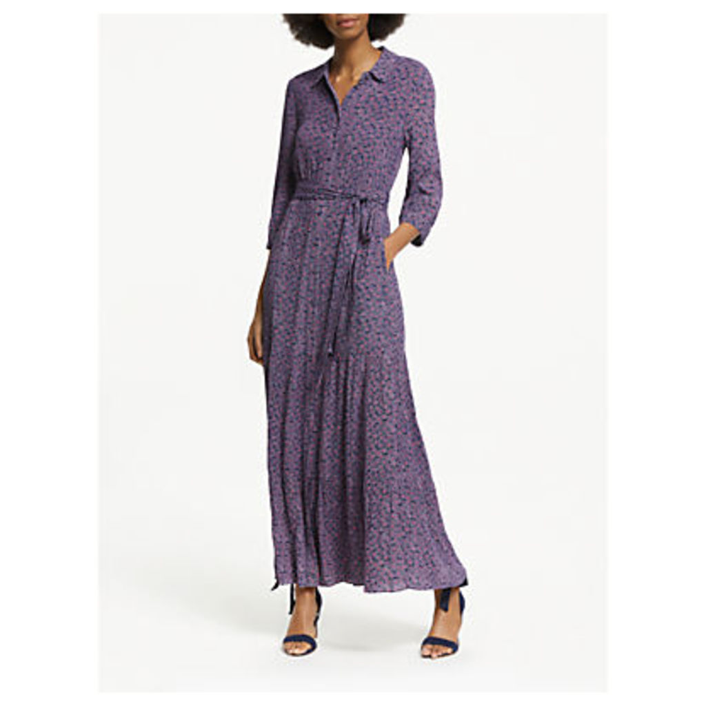 Boden Viola Floral Maxi Shirt Dress, Navy