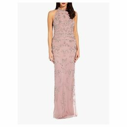 Adrianna Papell Beaded Halter Dress, Dusted Petal Pink
