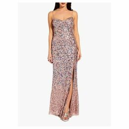 Adrianna Papell Beaded Sequin Mesh Maxi Dress, Rose Gold