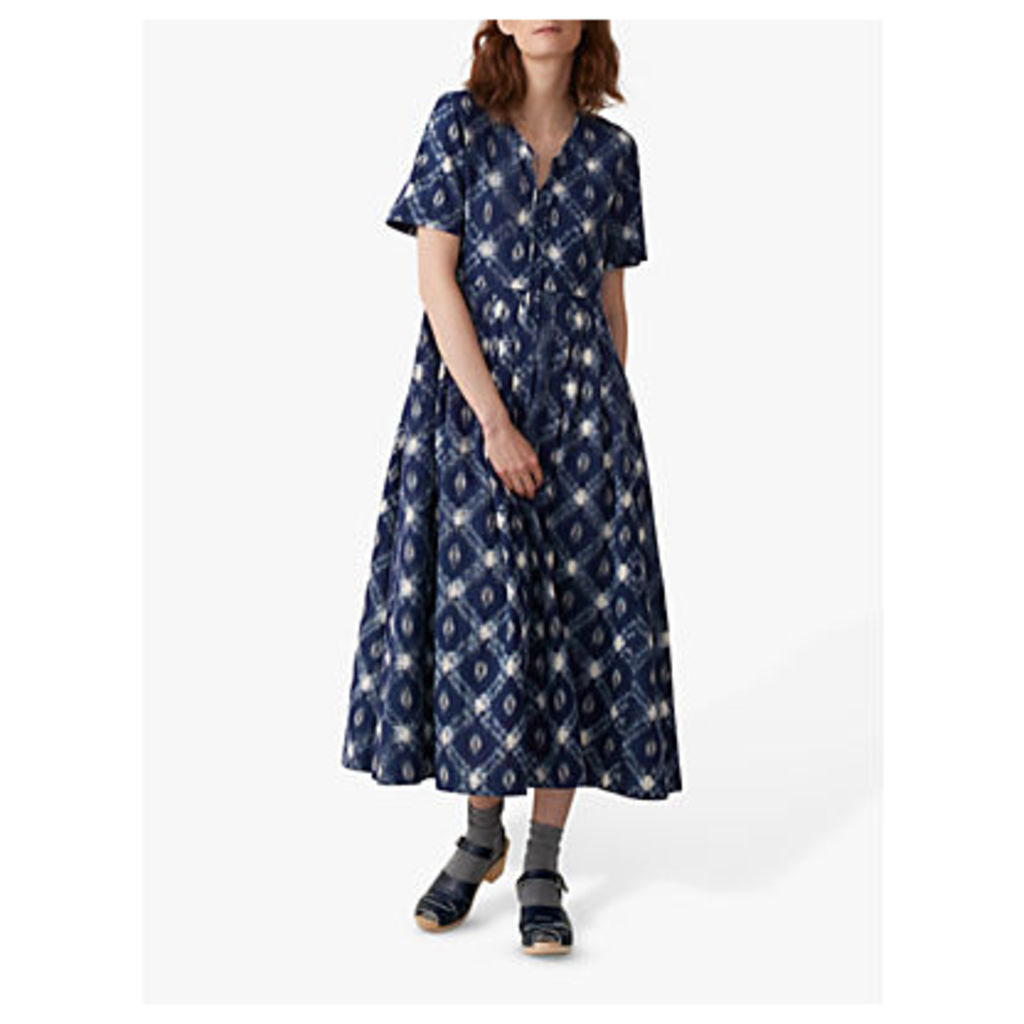 Toast Elin Ikat Dress, Blue/Ecru