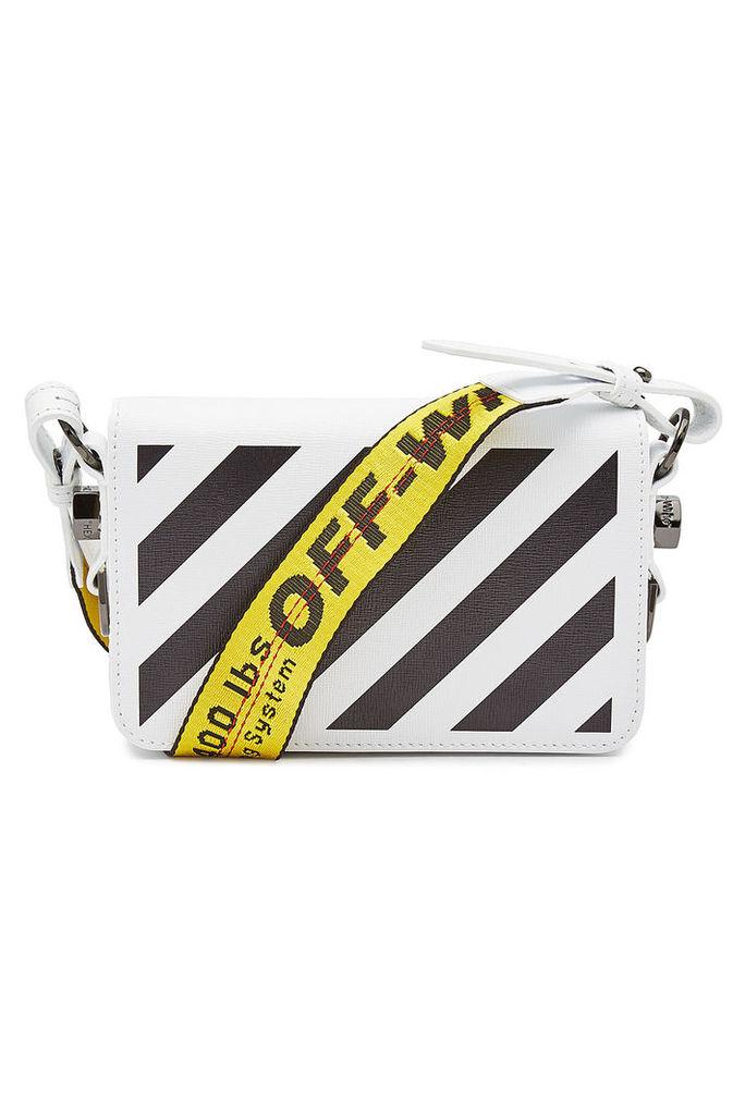 Off-White Diag Mini Flap Printed Leather Shoulder Bag