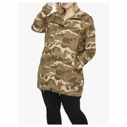 JUNAROSE Curve Jaliva Camouflage Print Parka Coat, Ivy Green