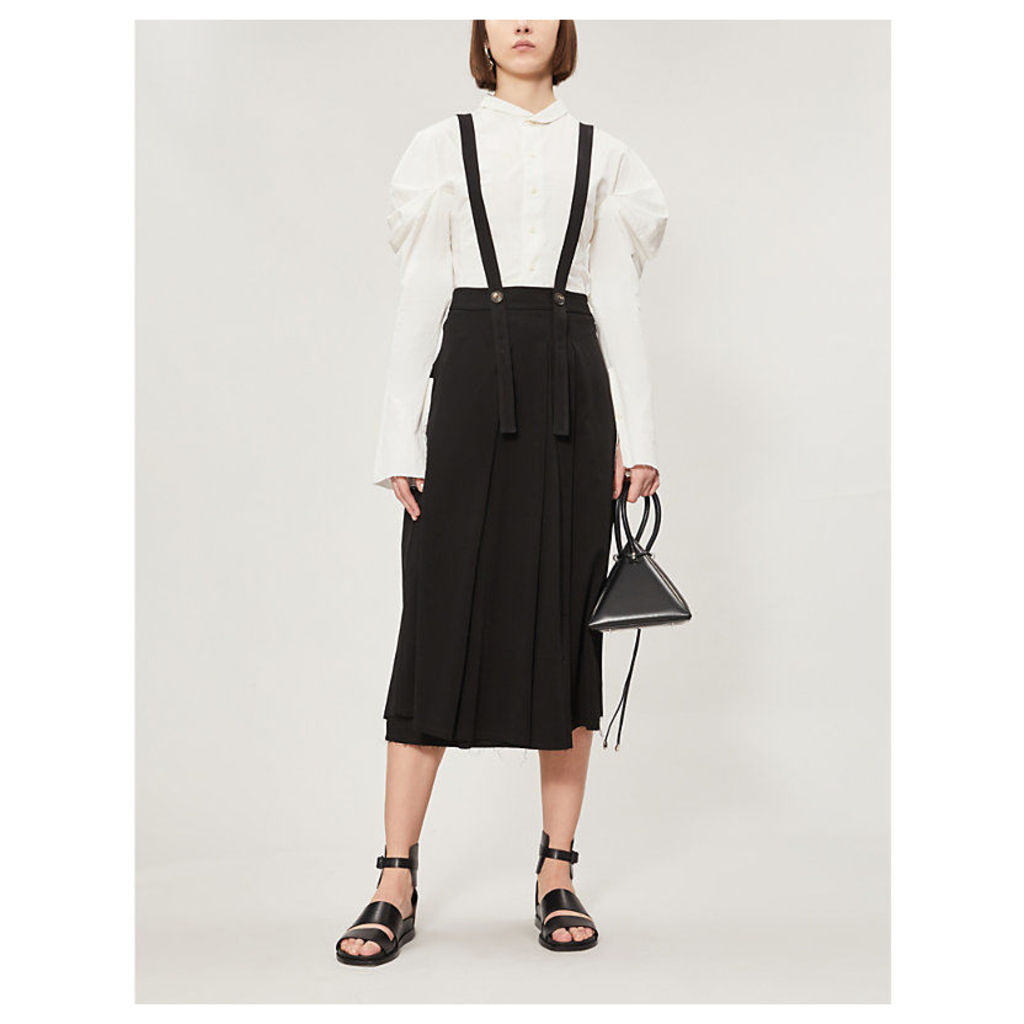 Pleated woven pinafore midi skirt