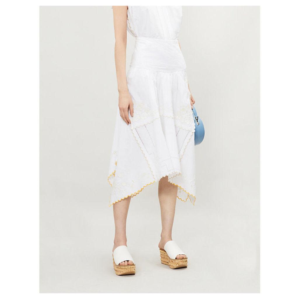 Embroidered asymmetric cotton midi skirt