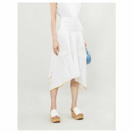 Embroidered asymmetric cotton midi skirt