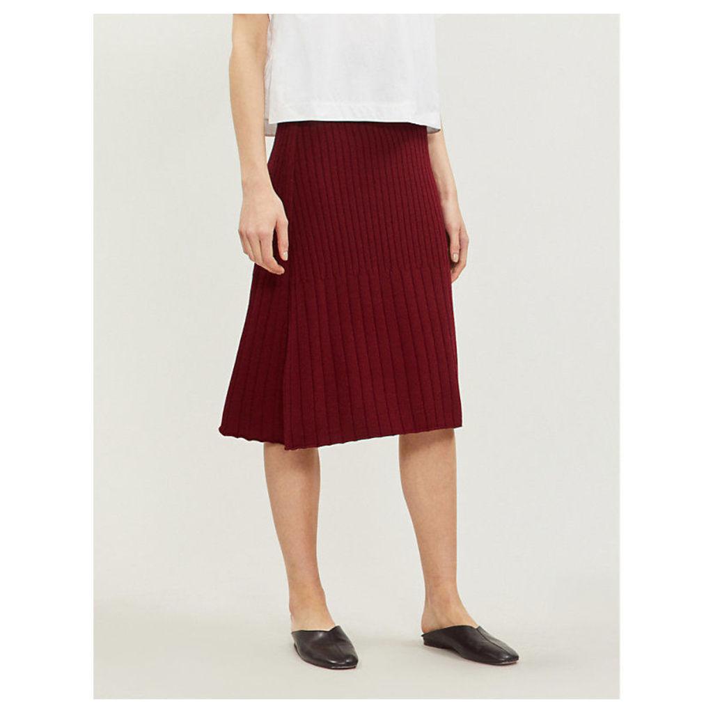 Ribbed wrap stretch-knit skirt