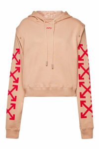 Off-White Embellished Cotton Sweatshirt with Hood
