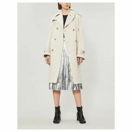 Woven double-breasted trench coat