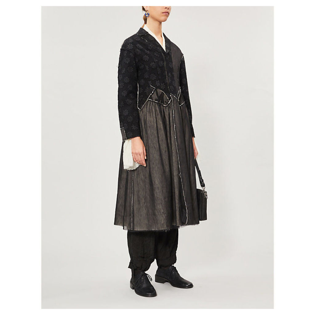 Floral-panel wool, linen and silk-blend coat