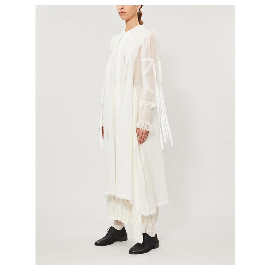 Puffed-sleeve embossed floral silk-blend coat