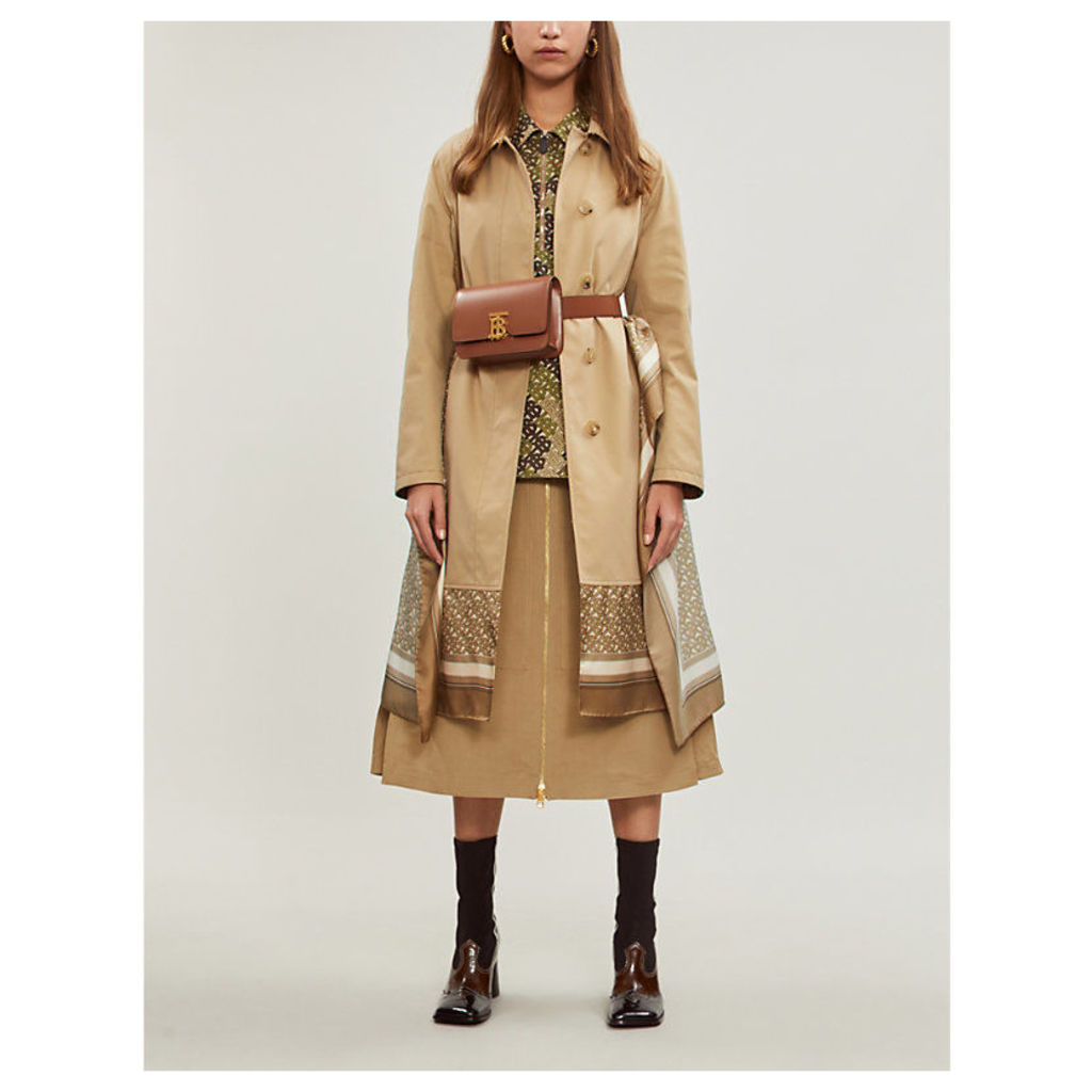 Contrast-layered cotton and silk trench coat