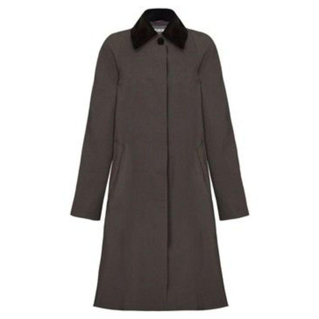 De La Creme  - Grey Womens Swing Raincoat Velvet Collar  women's Trench Coat in Grey