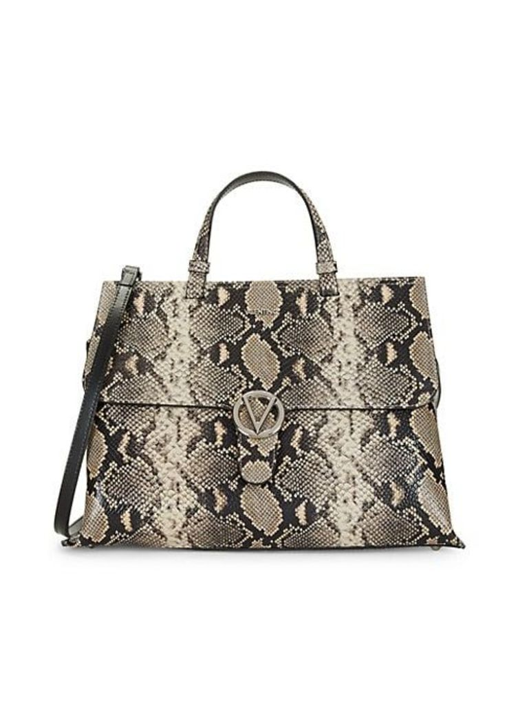 Olympia Python-Embossed Leather Top-Handle Satchel