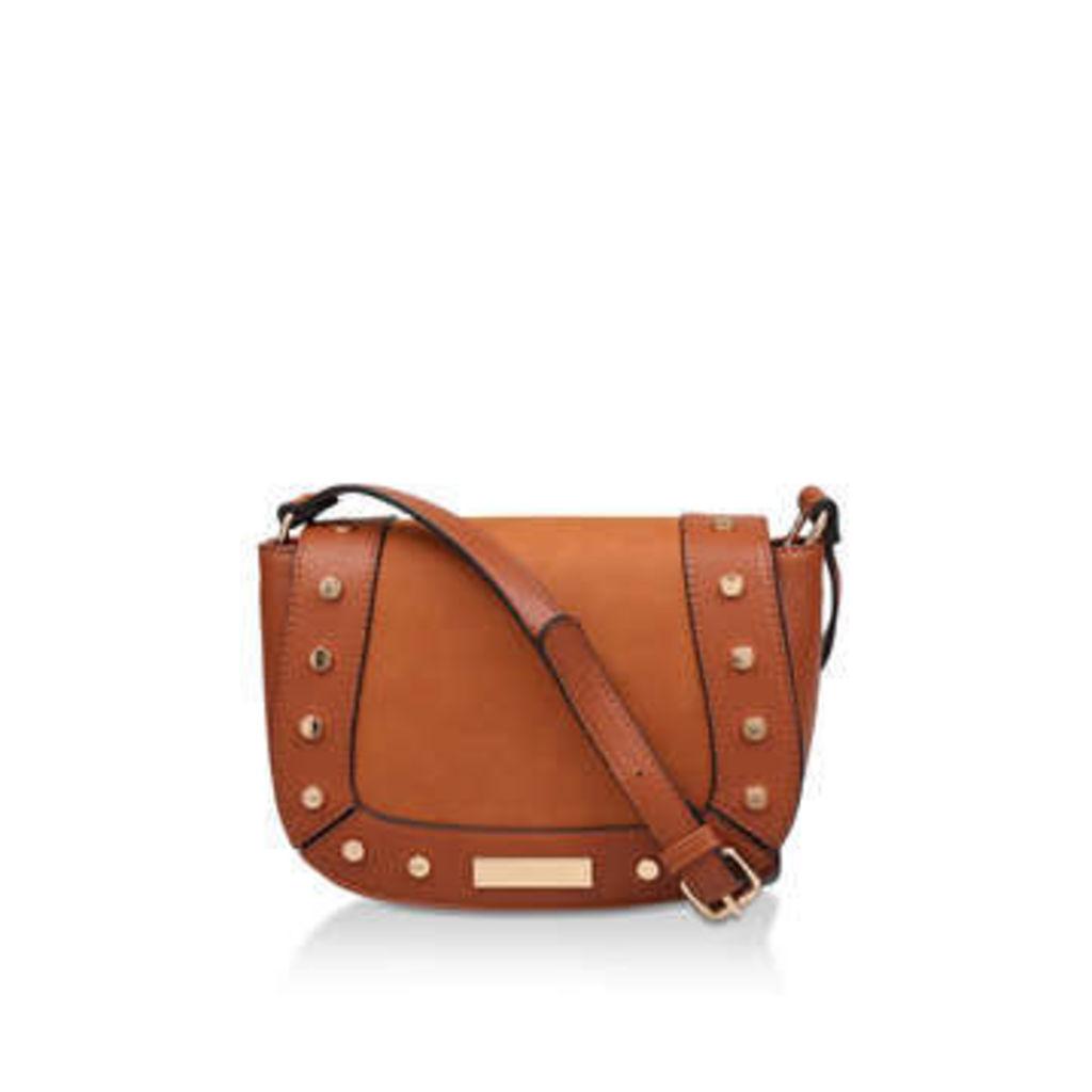 Carvela Connie Studded Saddle Bag - Tan Studded Cross Body Bag