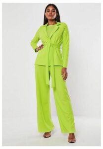 Lime Stretch Crepe Tie Waist Blazer, Lime