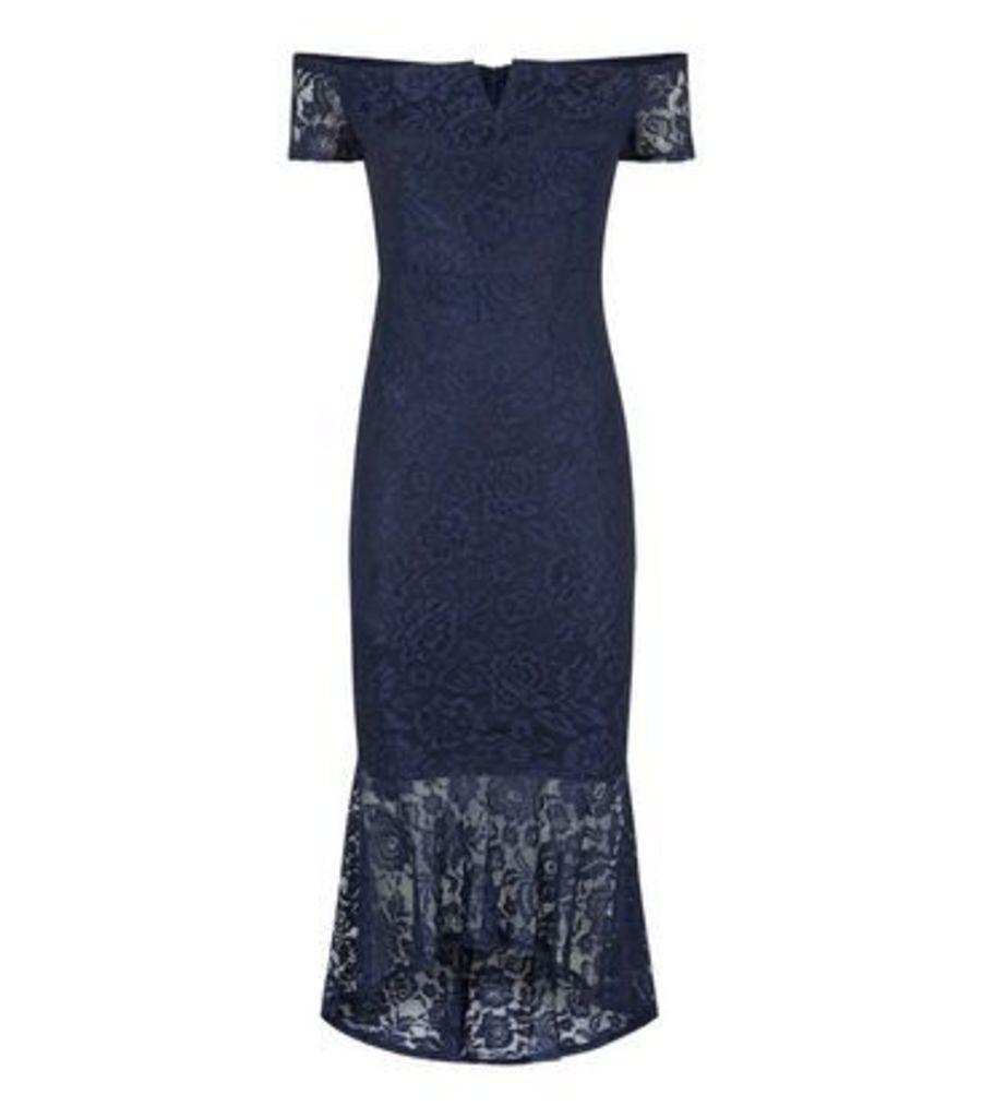 AX Paris Navy Lace Dip Hem Bardot Bodycon Dress New Look