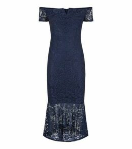 AX Paris Navy Lace Dip Hem Bardot Bodycon Dress New Look