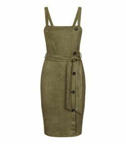AX Paris Olive Suedette Button Side Dress New Look