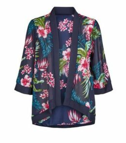Mela Navy Tropical Floral Kimono New Look