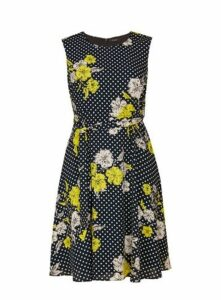 Black Fit And Flare Floral Spot Dress, Black