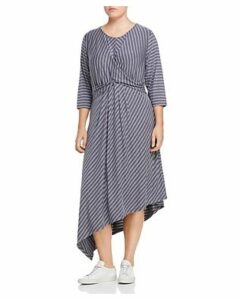 B Collection by Bobeau Curvy Clara Striped Asymmetric Twist Front Dress