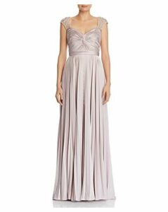 Aidan Mattox Pearl-Embellished Satin Gown - 100% Exclusive