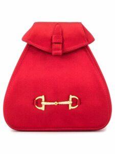 Gucci Pre-Owned horsebit rhinestone backpack bag - Red