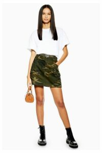 Womens Camouflage Belt Skirt - Khaki, Khaki