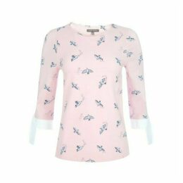 Bird Double Layer Top with Bow Cuff