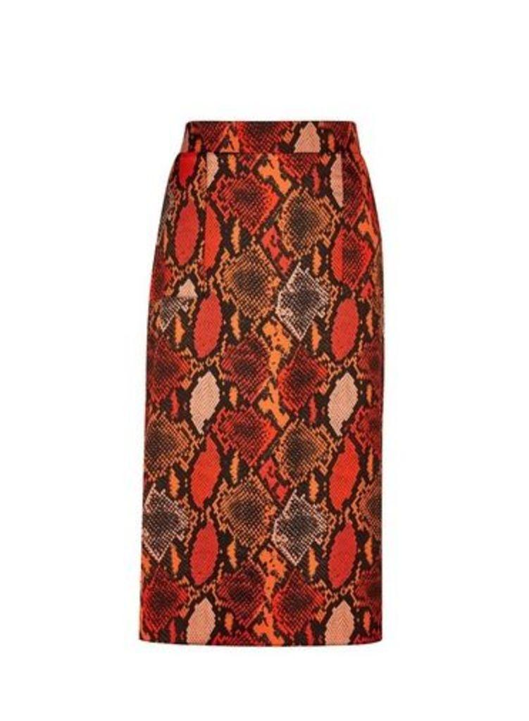 Womens Multi Colour Snake Print Midi Skirt- Orange, Orange