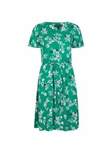 Womens Green Button Ditsy Print Fit And Flare Dress- Green, Green