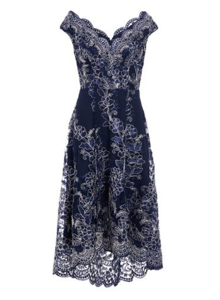 Womens *Quiz Navy Lace Dip Hem Skater Dress- Navy, Navy