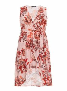 Womens *Quiz Curve Pink And Red Floral Print Wrap Dress- Pink, Pink