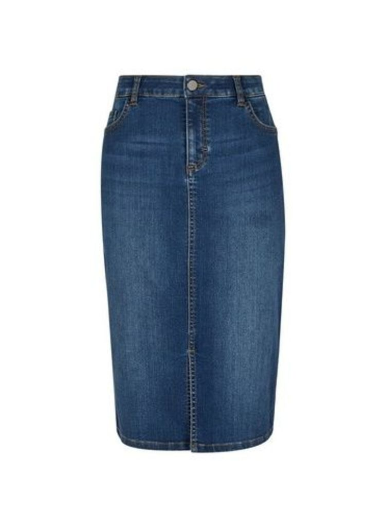 Womens Indigo Denim Midi Skirt- Blue, Blue