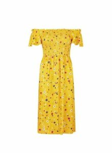 Womens Petite Yellow Ditsy Print Bardot Dress- Yellow, Yellow