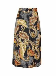 Womens Multi Coloured Paisley Print Button Midi Skirt- Red, Red