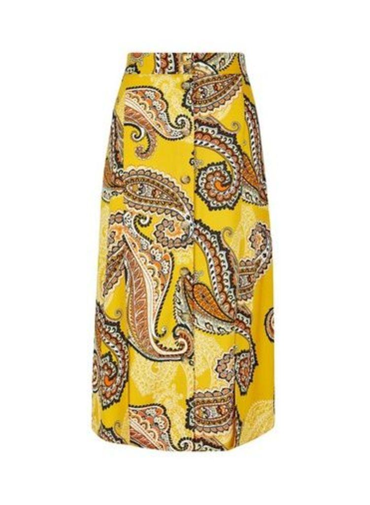 Womens Yellow Paisley Print Button Detail Midi Skirt- Orange, Orange