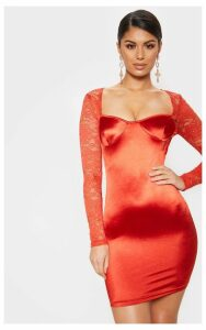 Red Satin Lace Sleeve Bodycon Dress, Red