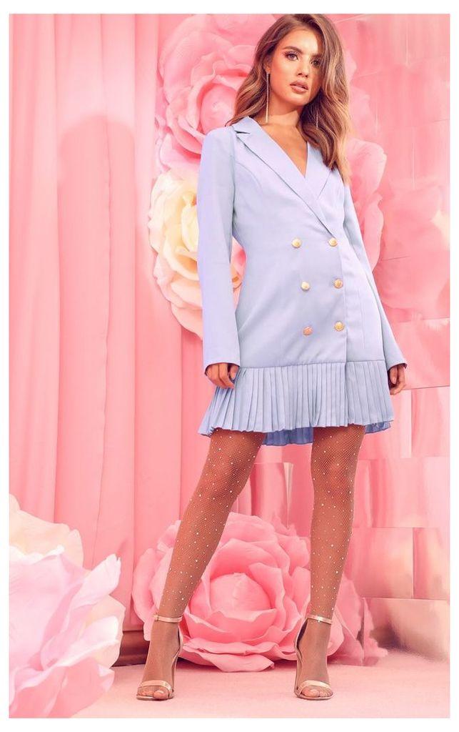 Dusty Blue Pleated Hem Button Detail Blazer Dress, Blue