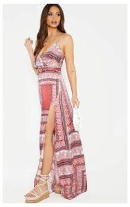 Pink Paisley Print Maxi Split Cami Dress, Pink