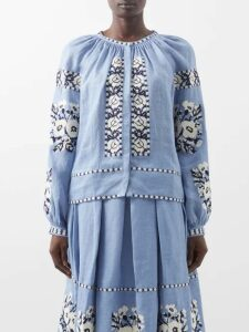 Araks - Tilly Polka Dot Cropped Organic Linen Top - Womens - Black Multi